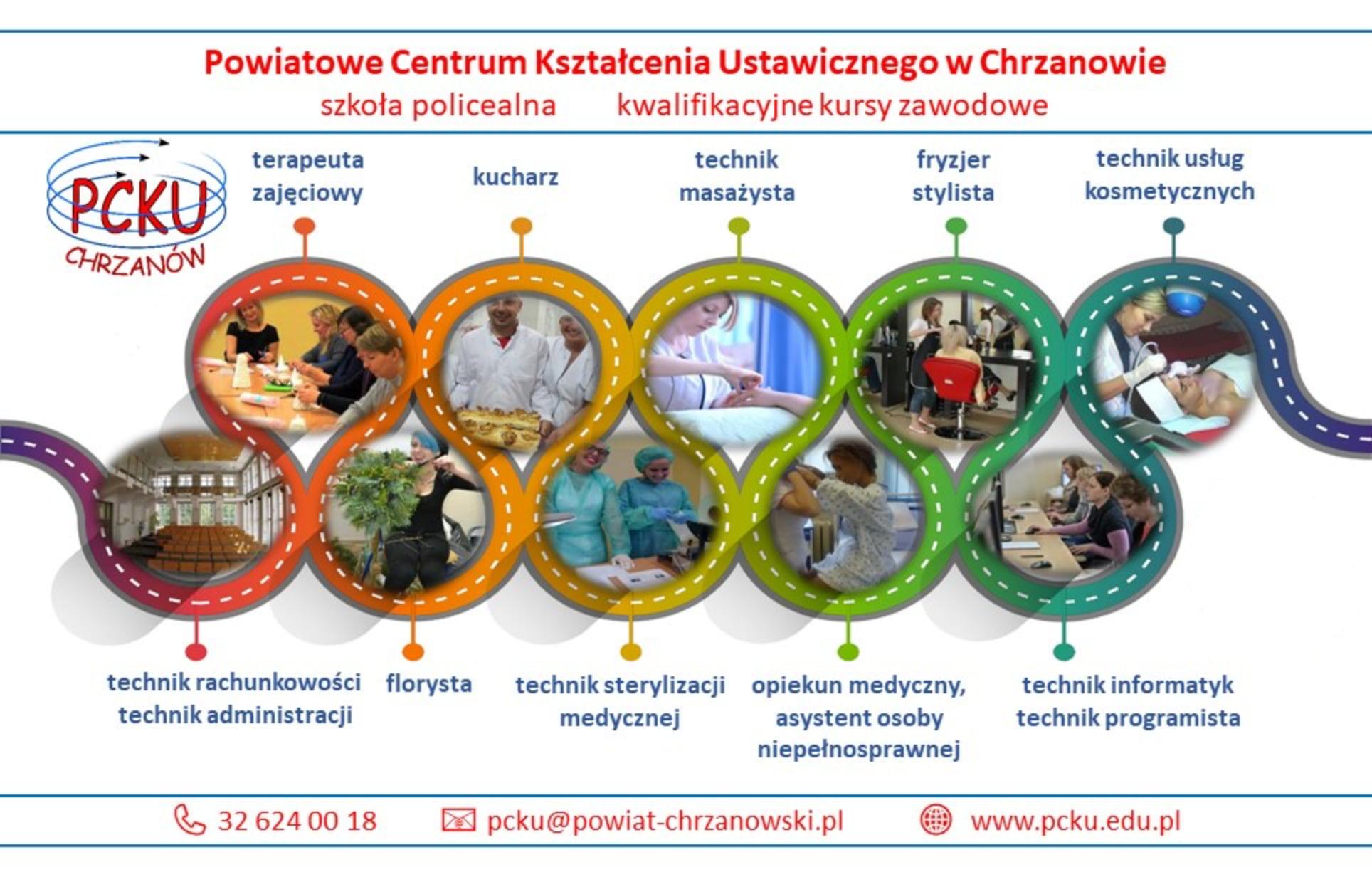 Baner promujący kierunki uczenia w PCKU w Chrzanowie