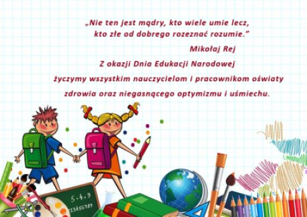Grafika prezentująca życzenia z okazji Dnia nauczyciela